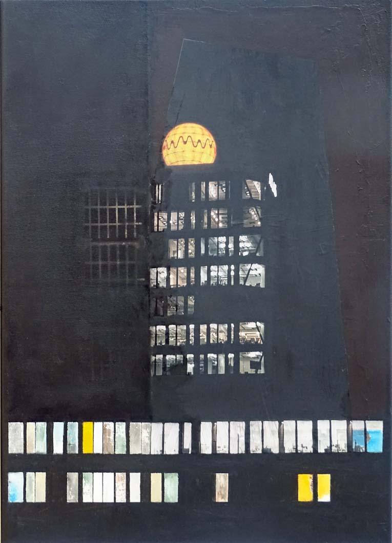 Fokus / Collage, Acryl auf Leinwand - 70 x 50 cm - 2021